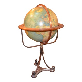 Antique Rand McNally and Co. Terrestrial Illuminated Globe on Wood and Brass Stand For Sale