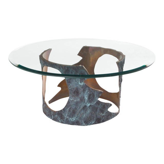Willy Ceysens Coffee Table in Solid Bronze & Glass For Sale