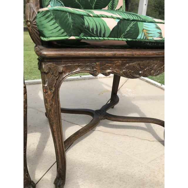 Vintage Coastal Regency Custom Upholstered French Carved Chairs-A Pair For Sale - Image 9 of 13