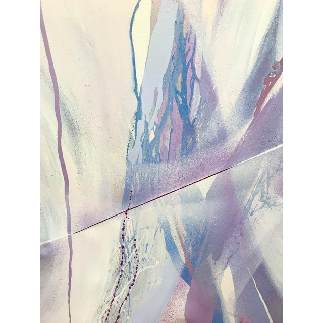 Large Mid Century Abstract - Colors in Purple and Blue - Image 3 of 8