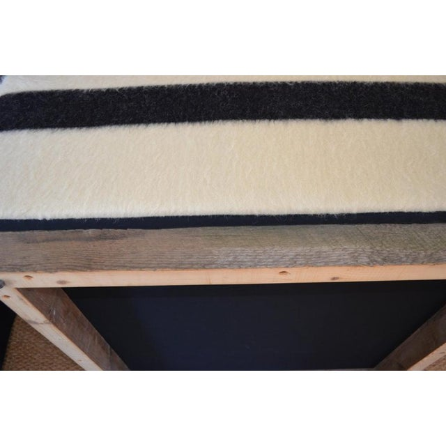 Ottoman Coffee Table Upholstered in Hudson Bay Blanket on Barn Board Frame, Square For Sale - Image 10 of 11