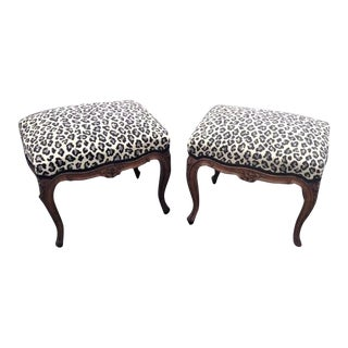 Early 20th Century Vintage Carved Walnut French Louis XV Style Foot Stools- a Pair For Sale