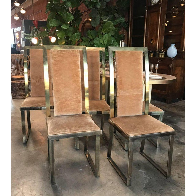 Italian Italian Chairs in Massive Brass, 1960, Set of Four For Sale - Image 3 of 10