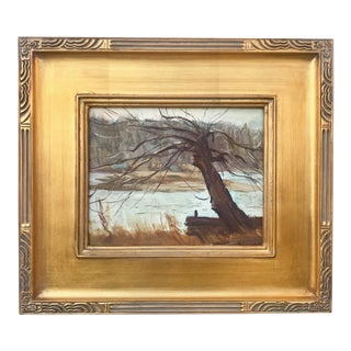 Vintage American Impressionist Oil Painting Tree in a Landscape by Harry Barton For Sale