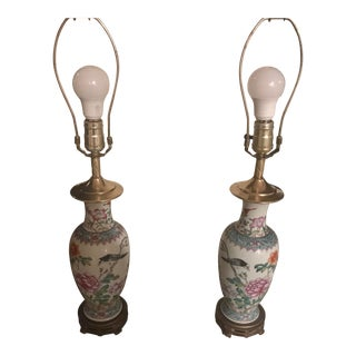Early 20th Century Chinese Lamps With Shade - a Pair For Sale