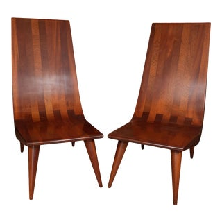 High Back African Mahogany Slipper Chairs - a Pair For Sale