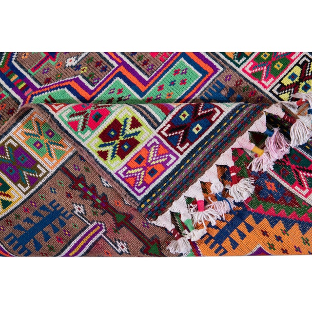 Mid-20th Century Colorful Vintage Turkish Wool Runner Rug 3 X 13 For Sale - Image 4 of 12