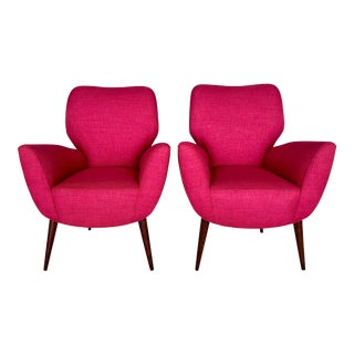 1960s Vintage Italian Hot Pink Armchairs- A Pair For Sale