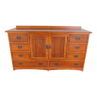 Drexel Heritage American Review Arts & Crafts Mission Style Cherry Dresser For Sale