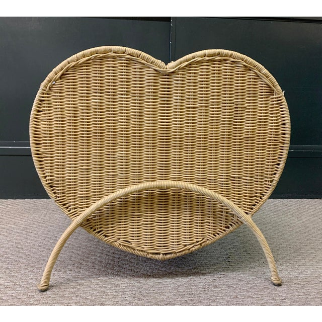 Vintage Rattan Heart Shaped Storage Laundry Hamper. Lovely decor piece and functional too.