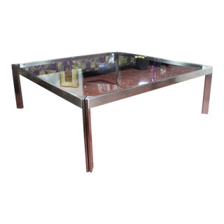 1970s Stainless Steel & Glass Cocktail/Coffee Table Mid Century Modern For Sale