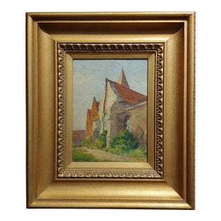 "Early 20th Century Antique Maurice Braun ""Eglise De Flines"" Oil Painting"