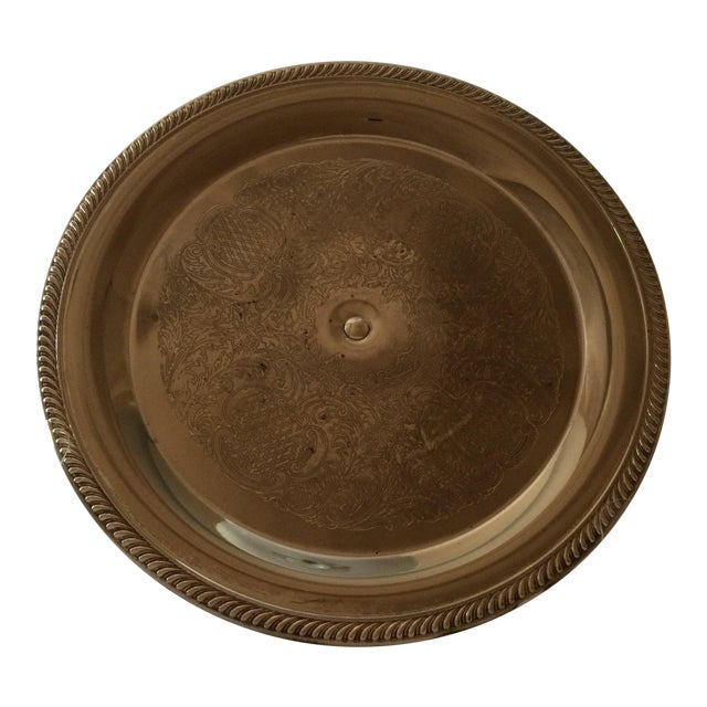 Vintage Unsigned Silver Plated Revolving Cake Tray For Sale