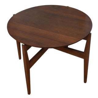 1950s Mid-Century Modern Ib Koford Round Teak Game Table For Sale