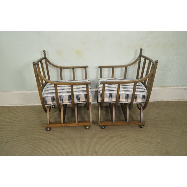 Blue Custom Pair of Mid Century Modern U Shaped Southwest Influenced Bent Wood Lounge Chairs For Sale - Image 8 of 10