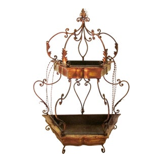 1950's Florentine Gilded Two Tiered Tole Wall Planter For Sale