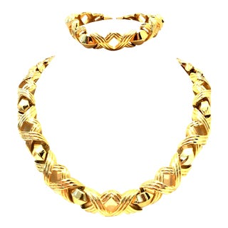 "20th Century Gold Link ""X"" Chunky Necklace & Bracelet By Christian Dior - a Pair For Sale"