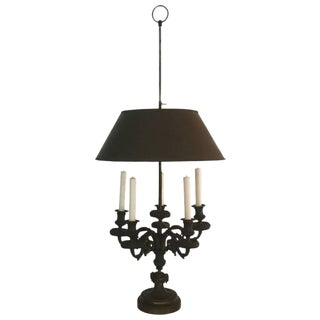 Impressive Patinated Bronze Antique Bouillotte Lamp For Sale