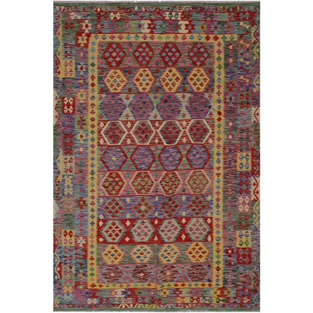 Bohemian Tressa Pink/Blue Hand-Woven Kilim Wool Rug - 6'10 X 9'9 For Sale