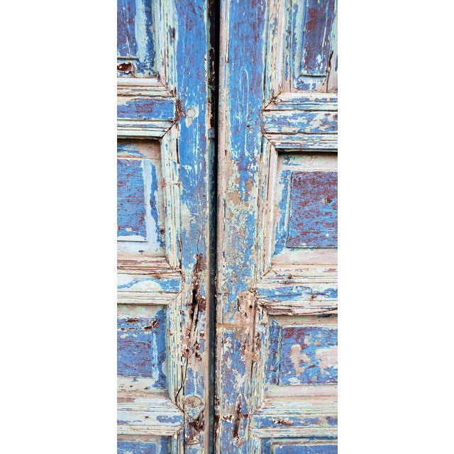 """The Giant Gentle, as it's called. Very old double panel Moroccan hand painted double door measuring approximately 118"""" in..."""
