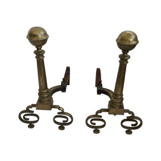 Andirons - Formal Brass Andirons - a Pair