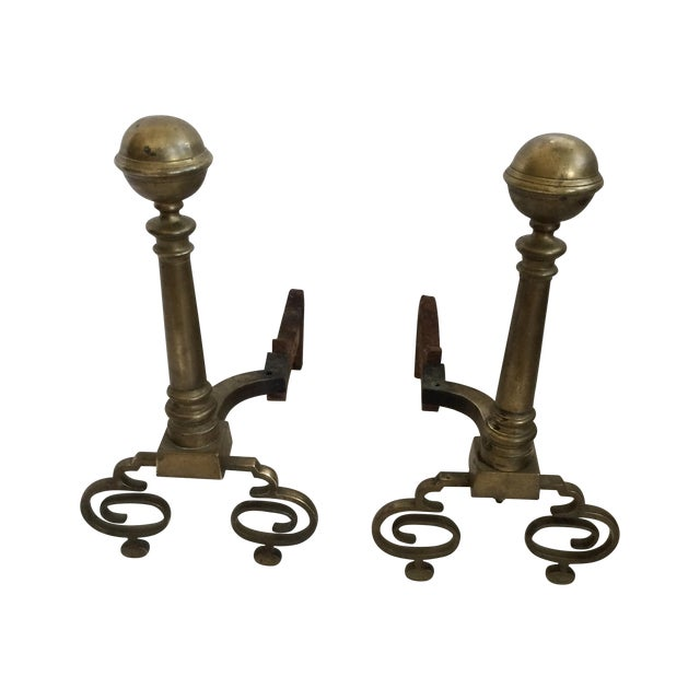 Andirons - Formal Brass Andirons - a Pair For Sale