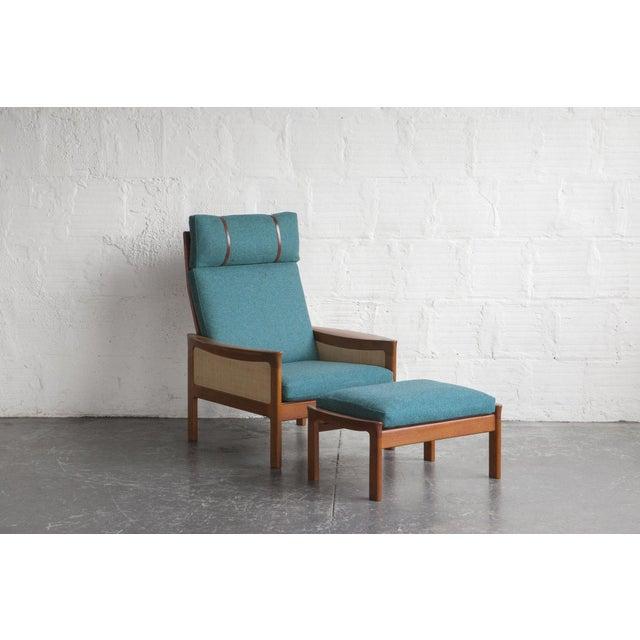 Danish High Back Lounge Chair & Ottoman - Image 2 of 10