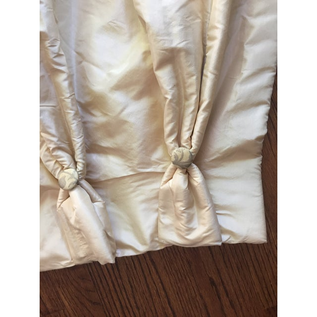Tan Beaded Tassel Trim Silk Drapes - A Pair For Sale - Image 8 of 8