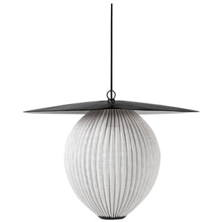Mid-Century Modern Mathieu Matégot Black and White Metal 'Satellite' Pendant For Sale
