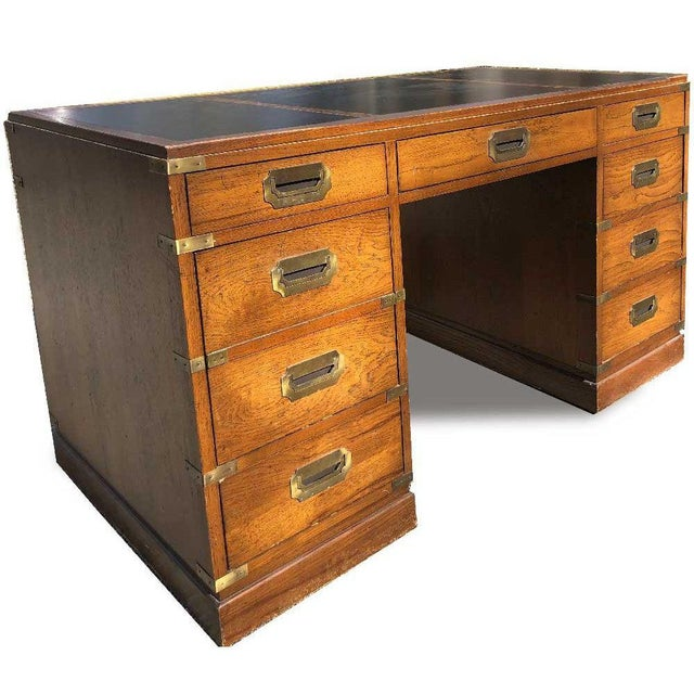 Mid-Century Modern 1970s Campaign Parnter Desk by Sligh For Sale - Image 3 of 11