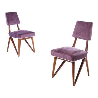 Vladimir Kagan Style Purple Mahogany Side Chairs - A Pair