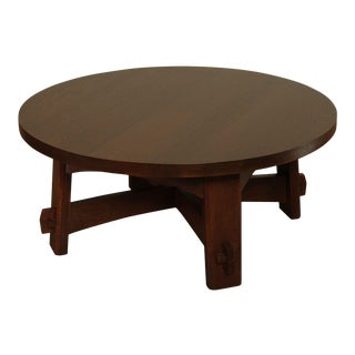 Stickley Mission Collection Oak Round Commemorative Coffee Table For Sale