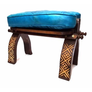 Turquoise Leather Moroccan Footstool For Sale