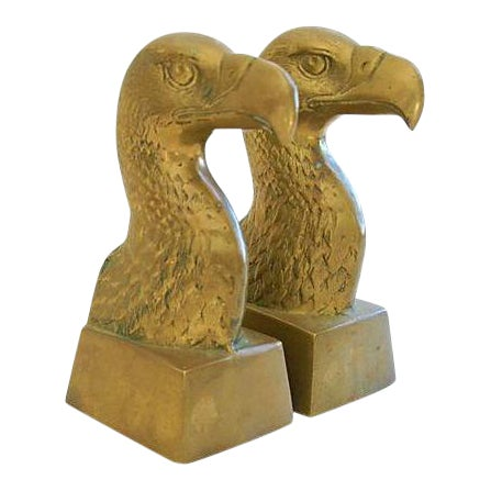 Patriotic 1960s Brass Bald Eagle Bookends - Image 1 of 6