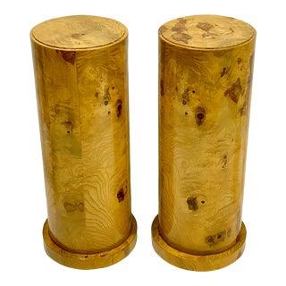 Vintage Neo-Classical Style Burlwood Veneer Italian Pedestals - Pair For Sale