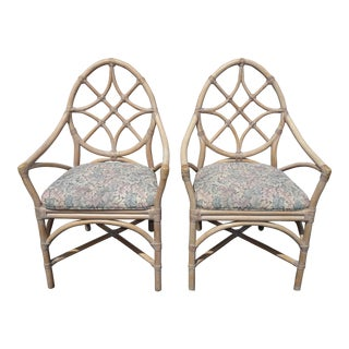 Pair Vintage McGuire Mid Century Modern Bamboo Rattan Accent Chairs For Sale