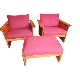 1960s Vintage Tarm Stole Scandinavian Armchairs & Ottoman- 3 Pieces For Sale