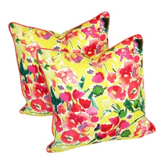 Yellow and Pink Floral Linen Pillows - a Pair For Sale