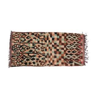 Leopard Print Vintage Boujad Rug - 2′11″ × 6′1″ For Sale