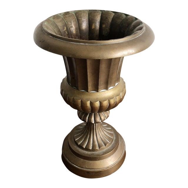 Hollywood Regency Style Brass Urn Vase Planter For Sale