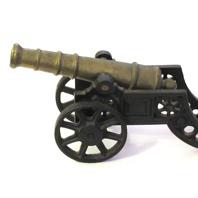 Metal English Victorian Brass Ornamental Signal Cannons on Cast Iron Carriages - a Pair For Sale - Image 7 of 9