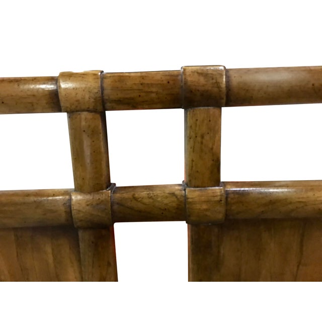 Vintage Walnut and Brass Campaign Headboard by Drexel Queen Size For Sale In Chicago - Image 6 of 10
