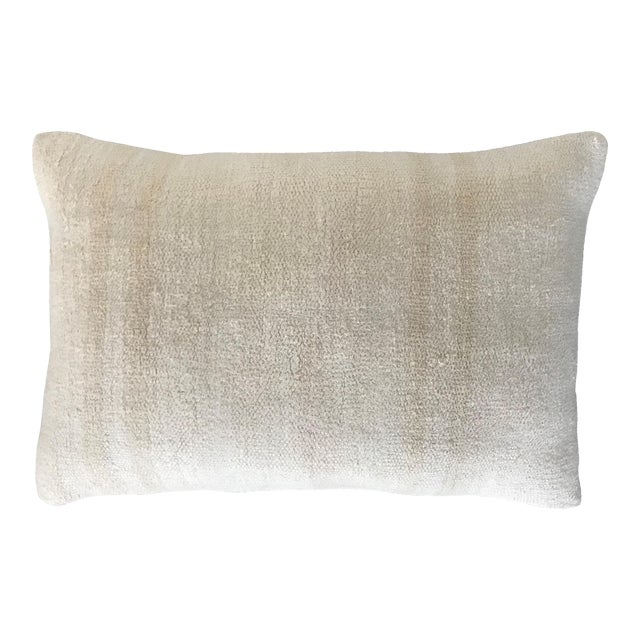 Vintage Contemporary Minimalist Hand Woven Hemp Kilim Pillow Cushion With Linen Back and Feather Down Insert,16x24 For Sale