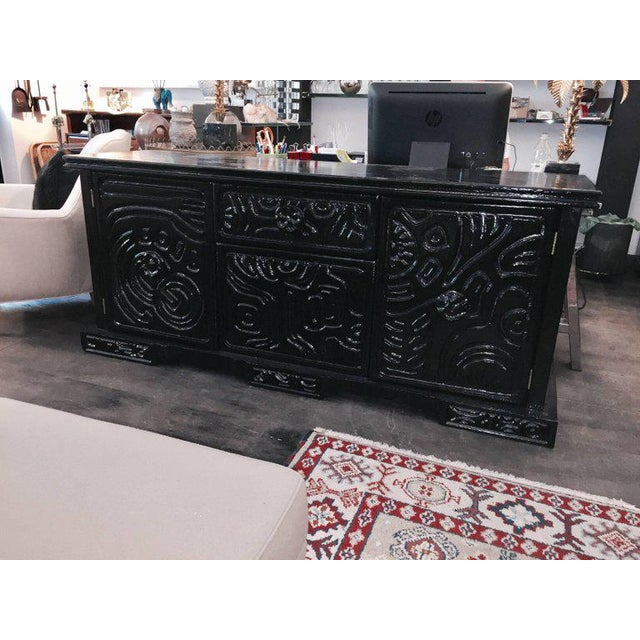 Brutalist Brutalist Carved Wood Lacquered Credenza by Witco For Sale - Image 3 of 6