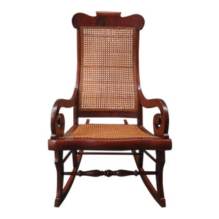 19th Century St. Croix Regency Mahogany and Cane Rocking Chair For Sale