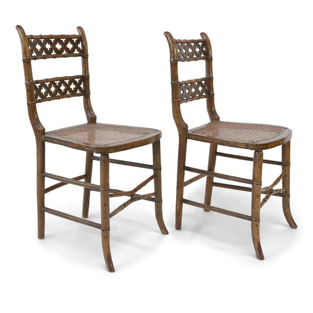 Brown Pair of Regency Faux Bamboo Chairs For Sale - Image 8 of 9