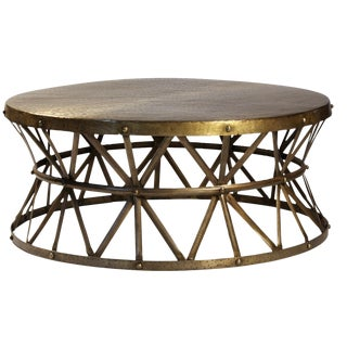 Brass Hammered Coffee Table For Sale