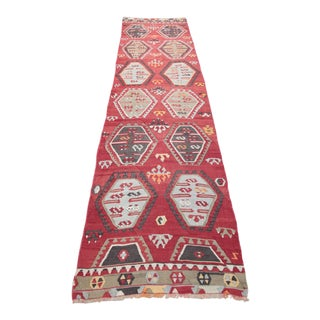 1950s Vintage Turkish Kilim Runner Rug - 2′9″ × 11′7″ For Sale