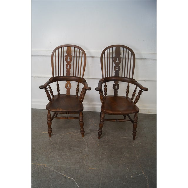 Antique 19th C. English Yew Wood Windsor Arm Chairs - Pair - Image 2 of 10