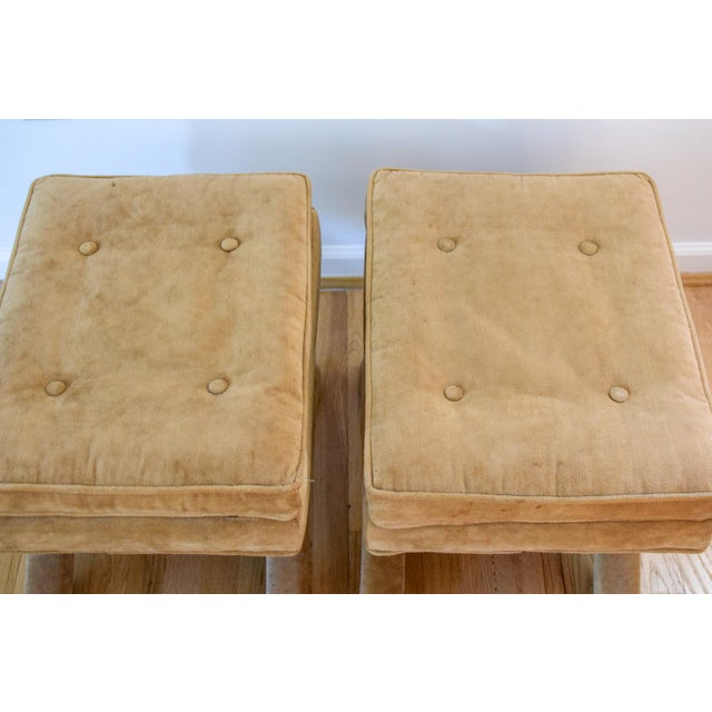 """Mid 20th Century Vintage Mid Century Tan Mohair """"X"""" Benches- A Pair For Sale - Image 5 of 12"""